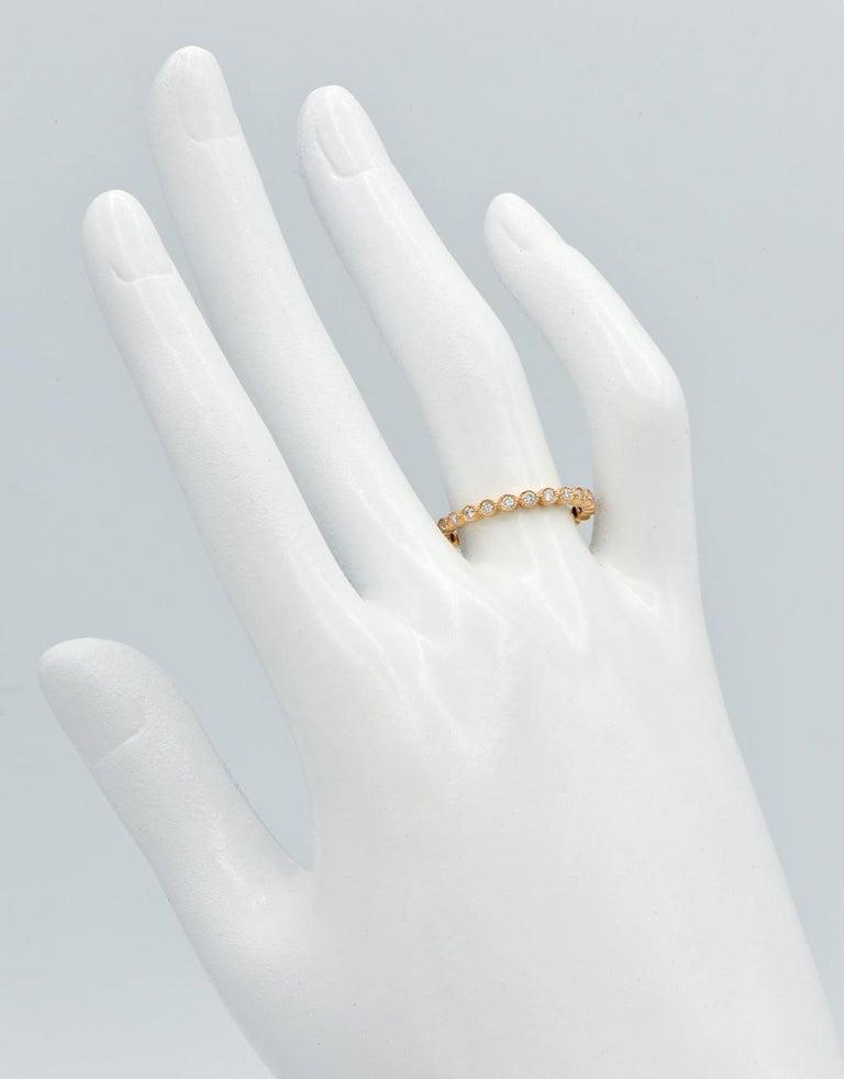 Round Cut 18 Karat Rose Gold Bezel Set Eternity Ring For Sale
