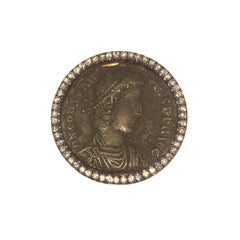18 Karat Rose Gold Bronze Ancient Roman Coin and Diamond Ring