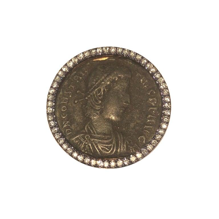12226d68abdf3 18 Karat Rose Gold Bronze Ancient Roman Coin and Diamond Ring
