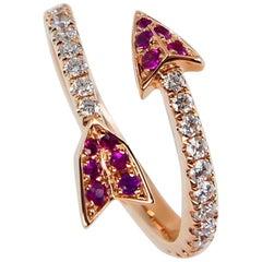 18 Karat Rose Gold Burma Red Rubies and Diamond Band Ring, Cupid's Arrow