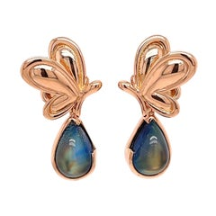 18k Rose Gold Butterfly Studs with 18k Rose Gold Rainbow Moonstone Jackets