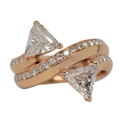 18k Rose Gold By Pass Ring with Trillion & Round Cut Diamonds, 2.11 Carats