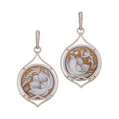 18K Rose Gold Cameo and Diamond Earrings
