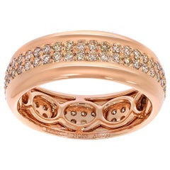 18k Rose Gold & Champagne Diamonds Stackable Ring