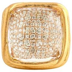 18 Karat Rose Gold Clear Quartz Pave Diamond Fashion Statement Ring