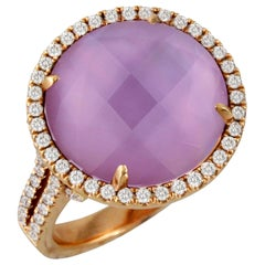 18K Rose Gold Cocktail Ring w/ Amethyst, Pink Mother of Pearl Doublet & Diamonds