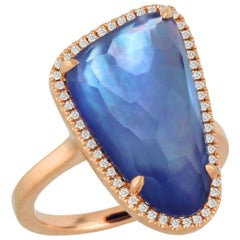 18K Rose Gold Cocktail Ring w/Lapis Lazuli, Mother of Pearl, Amethyst & Diamonds