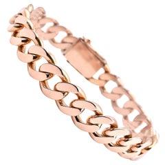 18 Karat Rose Gold Cuban Link Bracelet