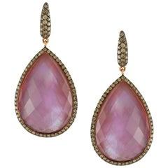 18K Rose Gold Dangle Earrings w/Amethyst, Mother of Pearl & Champagne Diamonds