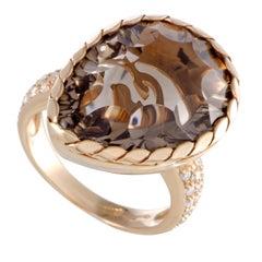 18 Karat Rose Gold Diamond and Pear Shaped Smoky Topaz Ring