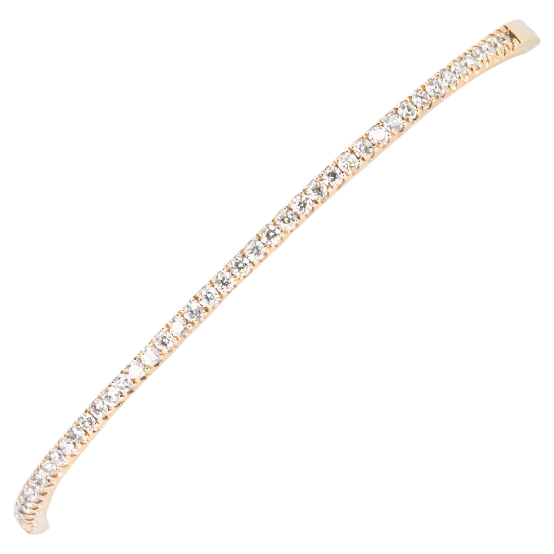 18 Karat Rose Gold Diamond Clamper Bangle Bracelet with Diamonds