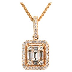 18K Rose Gold Diamond Emerald Illusion Pendant with Diamond Halo and Chain