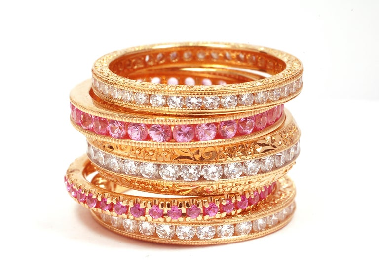 18k Rose Gold Diamond Pave Set Eternity Ring 2M Width In New Condition For Sale In New York, NY