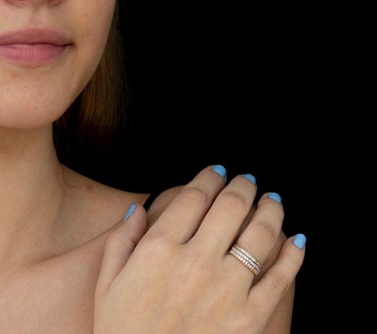 Women's 18k Rose Gold Diamond Pave Set Eternity Ring 2M Width For Sale