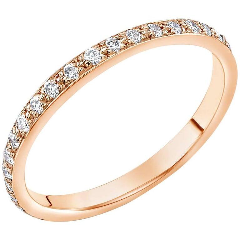 18k Rose Gold Diamond Pave Set Eternity Ring 2M Width For Sale