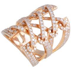 18 Karat Rose Gold Diamond Pave Wide Band Ring