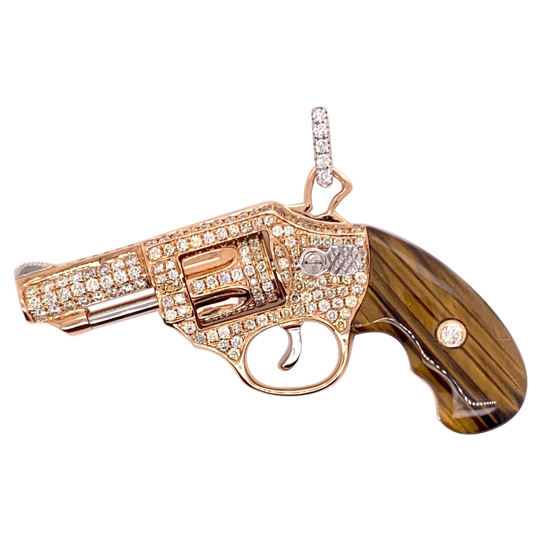 18k Rose Gold Diamond Revolver Gun Pendant