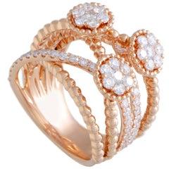 18 Karat Rose Gold Diamond Wide Split Band Ring