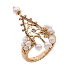 18k Rose Gold, Diamonds, Baby Akoy Pearls, Ring