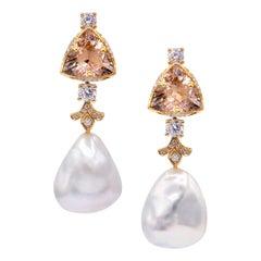 18K Rose Gold, Diamonds, Morganites, Pearls, Earrings