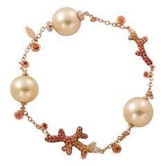 18K Rose Gold, Diamonds, Sapphires, Gold Pearls, Bracelet