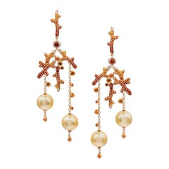 18k Rose Gold, Diamonds, Sapphires, Gold Pearls, Earrings