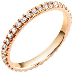 Eighteen Karats Rose Gold Eternity Diamond Wedding Band