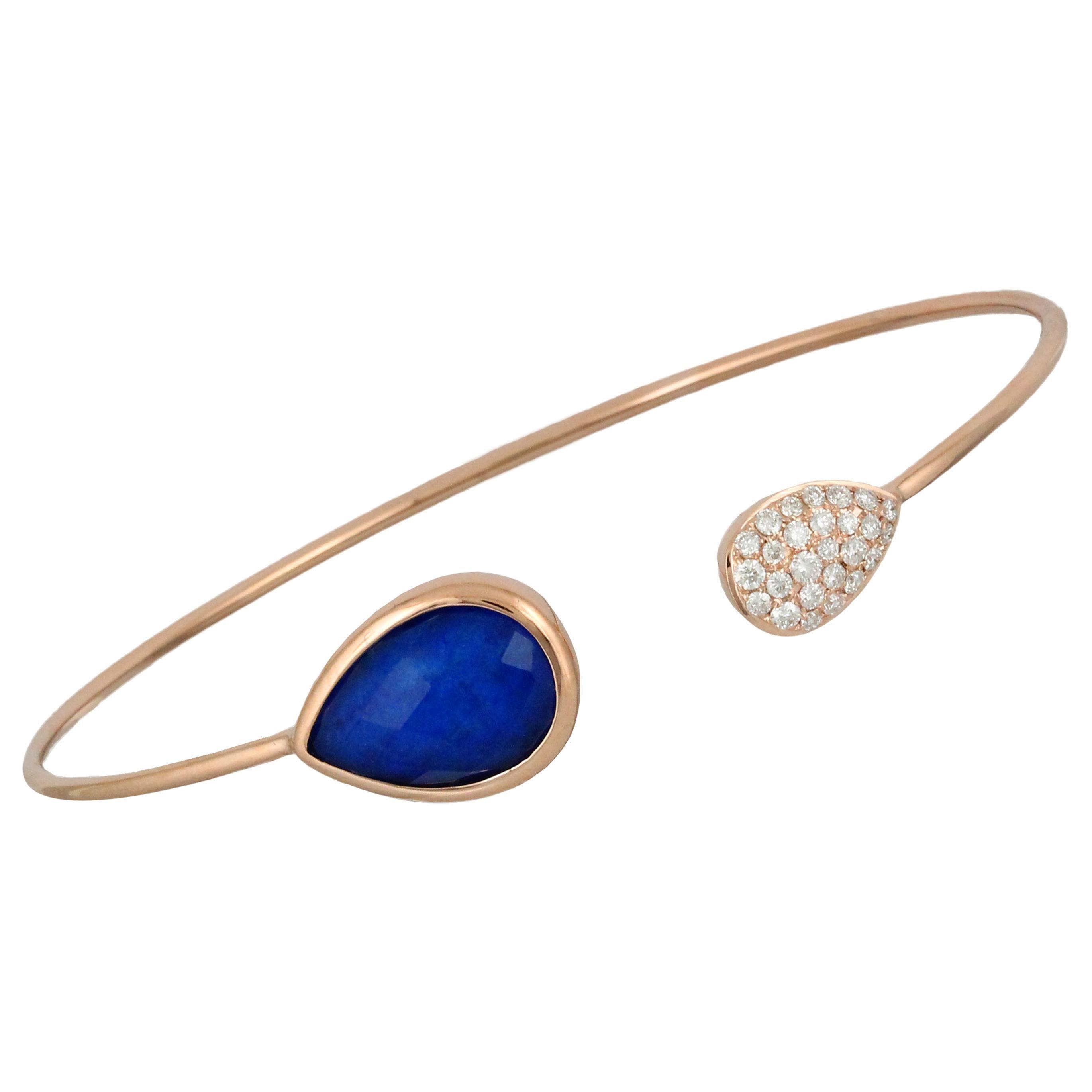 18K Rose Gold Flexible Bangle Bracelet w/ Lapis Lazuli, White Quartz & Diamonds