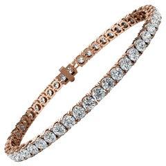 18k Rose Gold Four Prongs Diamond Tennis Bracelet '7 Ct. tw'