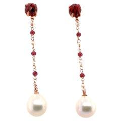 18k Rose Gold Garnet and Pearl Drop Earrings