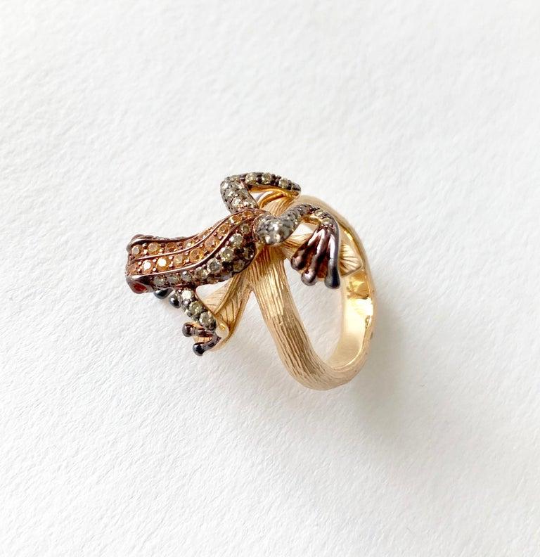 Artisan 18 Karat Rose Gold Gemstone Leaping Frog Ring For Sale