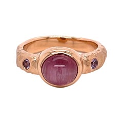 18k Rose Gold Hammered Pink Catseye Tourmaline Ring with Pink Sapphires