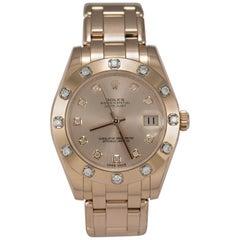 18k Rose Gold Ladies Rolex Datejust Pearlmaster with Diamond Bezel Wristwatch