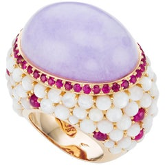 18K Rose Gold Lavender Jade Rubies and Mother-of-Pearl Cocktail Ring