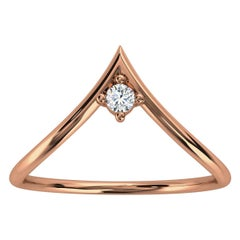18K Rose Gold Minimalist Chevron Solitaire Diamond Ring 'Center - 0.07 Carat'