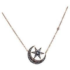 18 Karat Rose Gold Moon and Star Design Diamond Pendant by SHAY