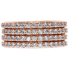 18K Rose Gold Multi-Row Diamond Band