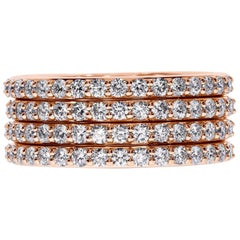 18k Rose Gold Multi-Row Diamond Band