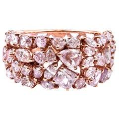 18 Karat Rose Gold Multi-Shaped Pink Diamond Cigar Band