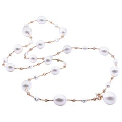 18 Karat Rose Gold Natural South Sea Pearl Necklace