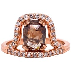 18 Karat Rose Gold Offset Cognac Diamond Ring with Champagne Diamond Halo