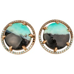 18 Karat Gold Opal and Petrified Wood Studs with Black and Blue Diamond Halo