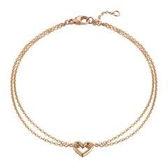 18 Karat Rose Gold Open Heart Bracelet