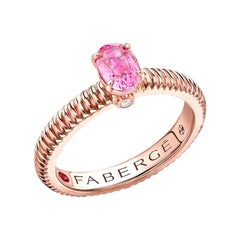 Fabergé 18k Rose Gold Oval Pink Sapphire Fluted Ring