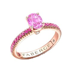 Fabergé 18k Rose Gold Oval Pink Sapphire Fluted Ring with Sapphire Shoulders