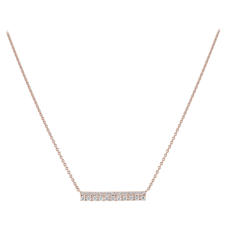 18k Rose Gold Pave Diamond Bar Pendant Necklace