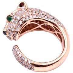 18 Karat Rose Gold Pave Diamond Panther Ring with Emerald Eyes