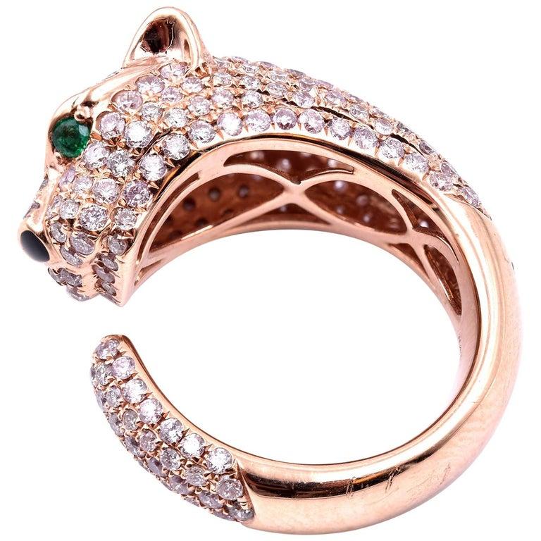 ace1c9a7ff5ec 18 Karat Rose Gold Pave Diamond Panther Ring with Emerald Eyes