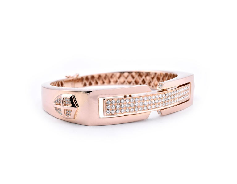 Designer: custom design Material: 18k rose gold Diamonds: 116 round brilliant cuts = 2.065cttw Color: H-I Clarity: VS2-SI1 Dimensions: bracelet will fit 6 ½ inch wrist Weight: 48.63 grams