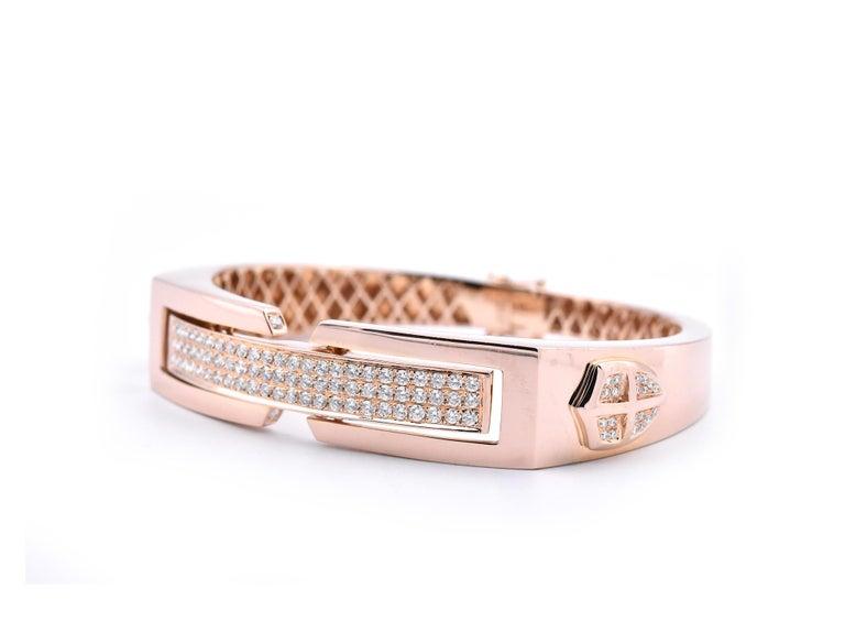 Round Cut 18 Karat Rose Gold Pave Diamond Shield Bangle Bracelet
